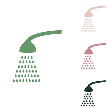Shower simple sign. Russian green icon with small jungle green, puce and desert sand ones on white background. Ilustrace