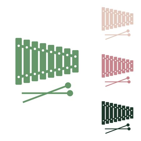 Xylophone sign. Russian green icon with small jungle green, puce and desert sand ones on white background.