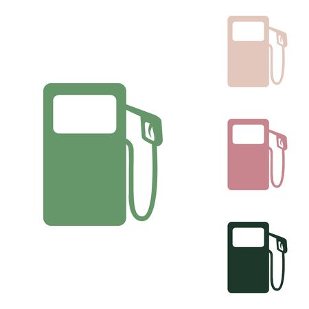 Gas pump sign. Russian green icon with small jungle green, puce and desert sand ones on white background.