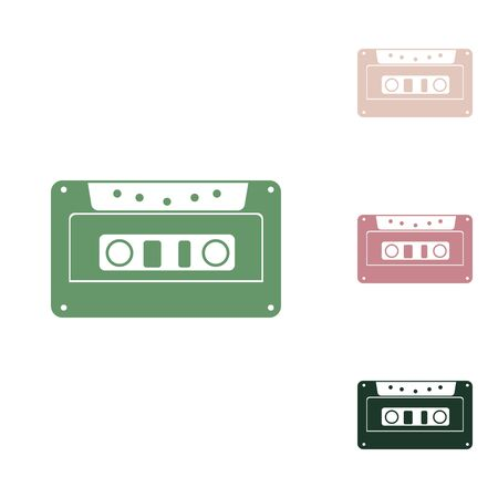 Cassette icon, audio tape sign. Russian green icon with small jungle green, puce and desert sand ones on white background.