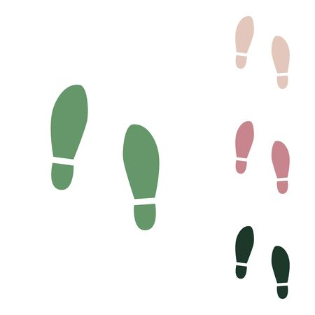 Imprint soles shoes sign. Russian green icon with small jungle green, puce and desert sand ones on white background.