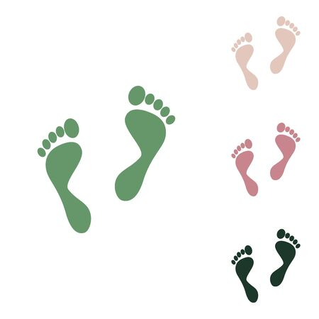 Foot prints sign. Russian green icon with small jungle green, puce and desert sand ones on white background.