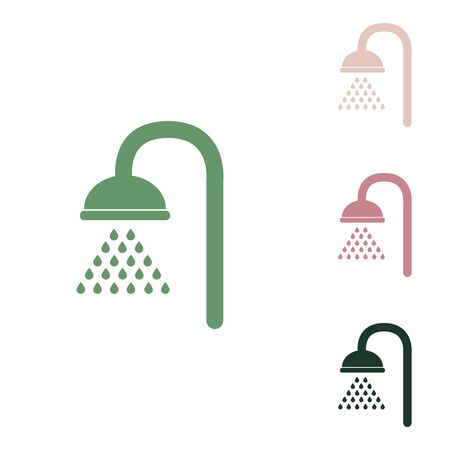 Shower sign. Russian green icon with small jungle green, puce and desert sand ones on white background.