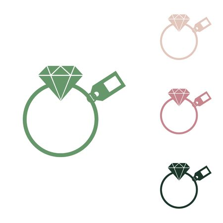 Diamond sign with tag. Russian green icon with small jungle green, puce and desert sand ones on white background.