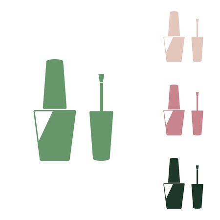 Nail polish sign. Russian green icon with small jungle green, puce and desert sand ones on white background.