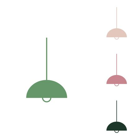 Ceiling lamp sign. Russian green icon with small jungle green, puce and desert sand ones on white background. Vektorové ilustrace