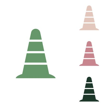 Road traffic cone icon. Russian green icon with small jungle green, puce and desert sand ones on white background.