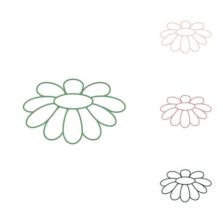 Fower Chamomile sign illustration. Russian green icon with small jungle green, puce and desert sand ones on white background. Illustration
