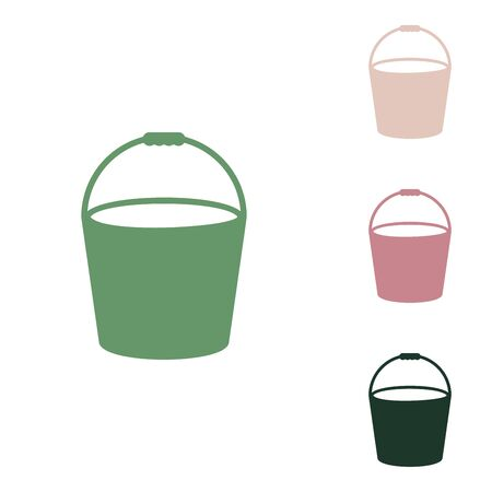 Bucket sign. Russian green icon with small jungle green, puce and desert sand ones on white background.