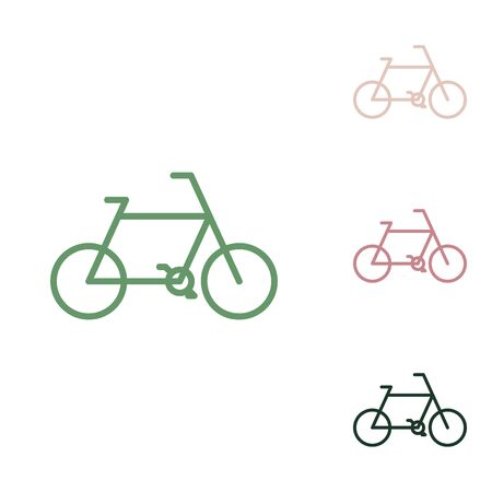 Bicycle Bike sign. Russian green icon with small jungle green, puce and desert sand ones on white background. Illustration