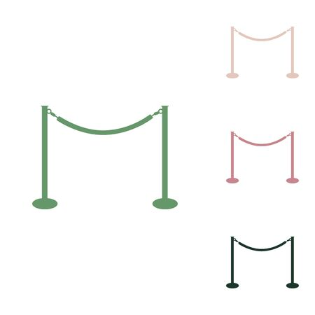 Fence from chainc sign. Russian green icon with small jungle green, puce and desert sand ones on white background.