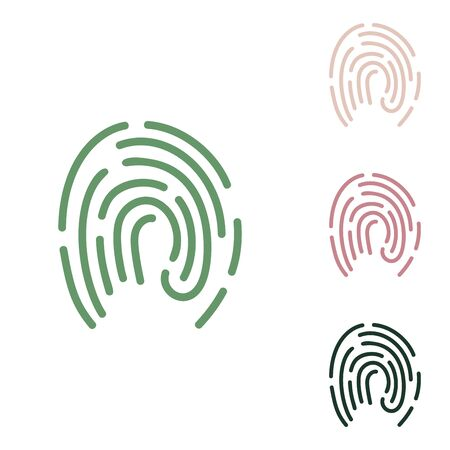 Fingerprint sign illustration. Russian green icon with small jungle green, puce and desert sand ones on white background.
