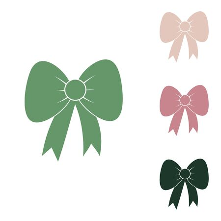 Bow sign illustration. Russian green icon with small jungle green, puce and desert sand ones on white background.
