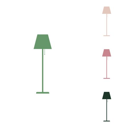 Floor lamp sign illustration. Russian green icon with small jungle green, puce and desert sand ones on white background.