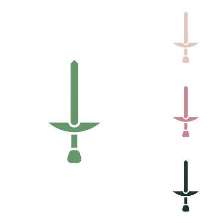 Simple Sword sign. Russian green icon with small jungle green, puce and desert sand ones on white background.