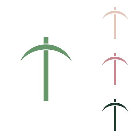 Pickaxe sign. Russian green icon with small jungle green, puce and desert sand ones on white background.