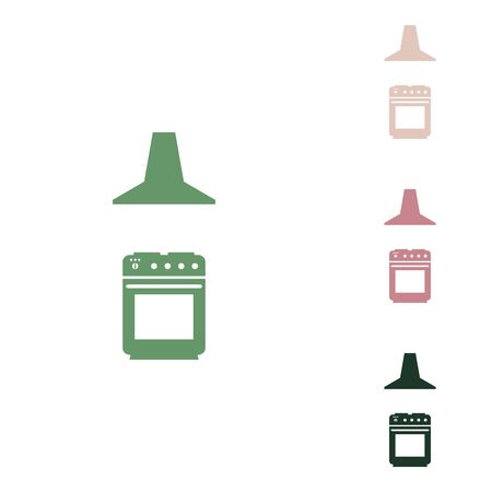 Electric or gas stove and extractor kitchen hood sign. Russian green icon with small jungle green, puce and desert sand ones on white background.