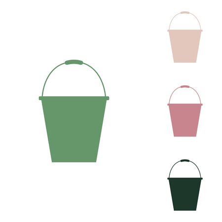 Bucket sign for garden. Russian green icon with small jungle green, puce and desert sand ones on white background. Ilustrace