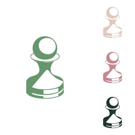 Chess figures sign. Russian green icon with small jungle green, puce and desert sand ones on white background.