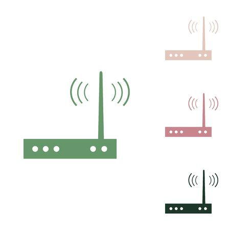 Wifi modem sign. Russian green icon with small jungle green, puce and desert sand ones on white background.
