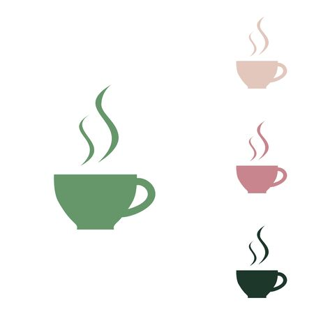 Cup sign with two small streams of smoke. Russian green icon with small jungle green, puce and desert sand ones on white background.