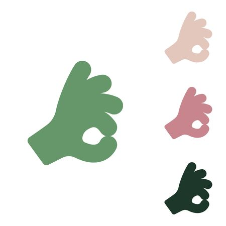 Okay. Hand icon. Russian green icon with small jungle green, puce and desert sand ones on white background.