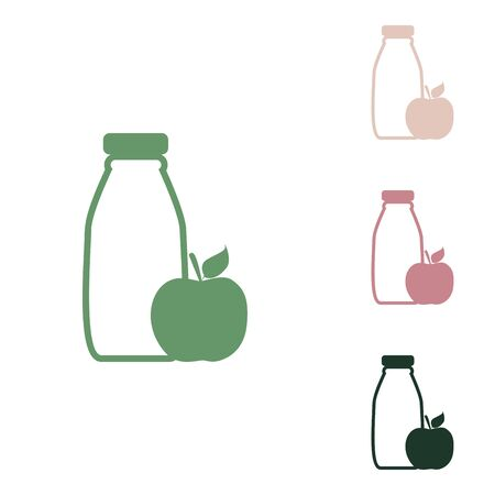 Bottle with apple. Dietology sign. Russian green icon with small jungle green, puce and desert sand ones on white background. Ilustracja