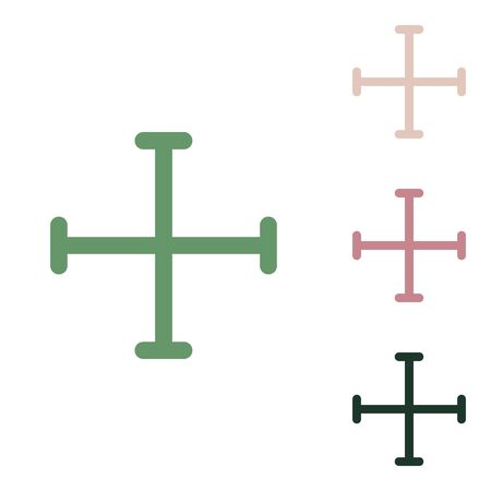 Jerusalem cross sign. Russian green icon with small jungle green, puce and desert sand ones on white background.