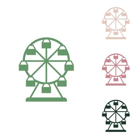 Ferris wheel sign. Russian green icon with small jungle green, puce and desert sand ones on white background.