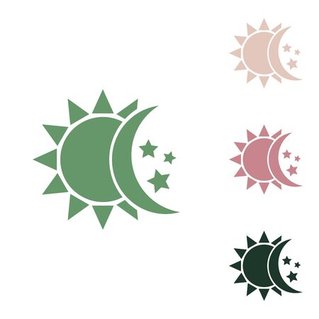 Sun, moon, stars sign. Russian green icon with small jungle green, puce and desert sand ones on white background. Stock Illustratie