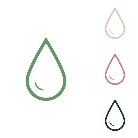 Tropfen Wasserzeichen. Russische grüne Ikone mit kleinem Dschungelgrün, Puce und Wüstensand auf weißem Hintergrund. Vektorgrafik