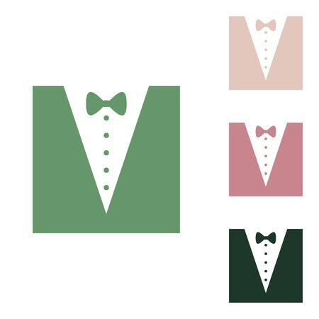 Tuxedo with bow silhouette. Russian green icon with small jungle green, puce and desert sand ones on white background.