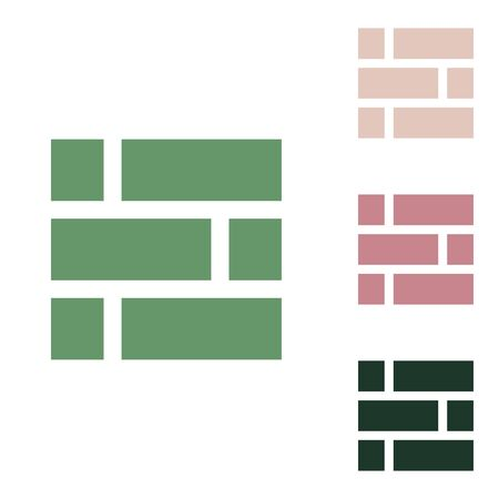Brick wall sign. Russian green icon with small jungle green, puce and desert sand ones on white background.