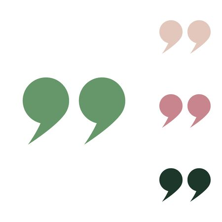 Quote sign. Russian green icon with small jungle green, puce and desert sand ones on white background. Stock Illustratie
