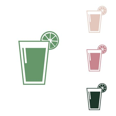 Glass of juice icons. Russian green icon with small jungle green, puce and desert sand ones on white background.