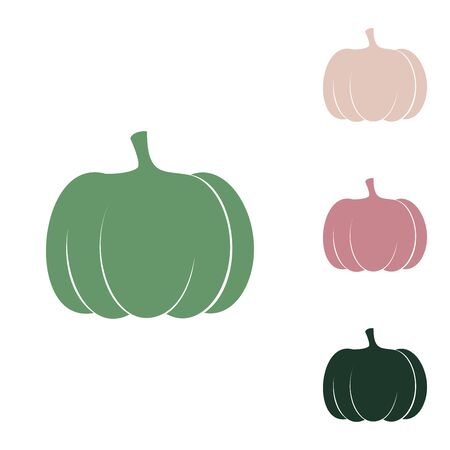 Pumpkin sign. Russian green icon with small jungle green, puce and desert sand ones on white background. Illustration