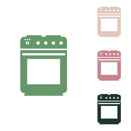 Stove sign. Russian green icon with small jungle green, puce and desert sand ones on white background.