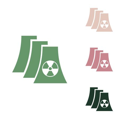 Nuclear power plant sign. Russian green icon with small jungle green, puce and desert sand ones on white background.