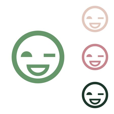 Smile sign. Russian green icon with small jungle green, puce and desert sand ones on white background. 向量圖像