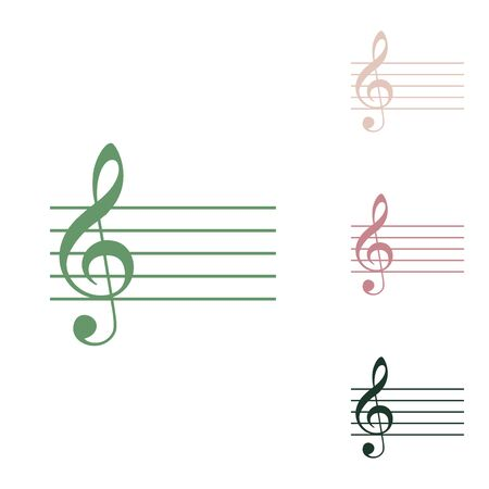 Music violin clef sign. G-clef. Russian green icon with small jungle green, puce and desert sand ones on white background. Stok Fotoğraf - 148123241