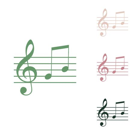 Music violin clef sign. G-clef and notes G, H. Russian green icon with small jungle green, puce and desert sand ones on white background. Stok Fotoğraf - 148105144