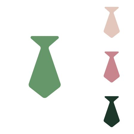 Tie glyph sign. Russian green icon with small jungle green, puce and desert sand ones on white background. Illustration