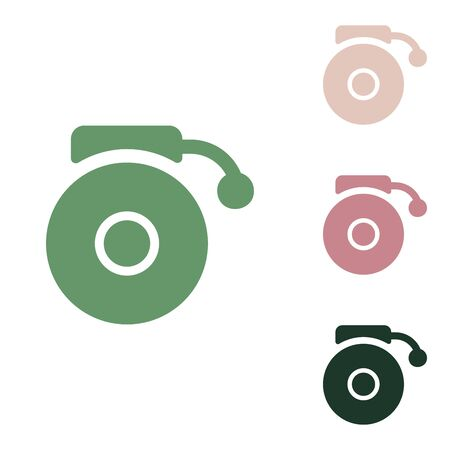 Gramophone sign. Russian green icon with small jungle green, puce and desert sand ones on white background.