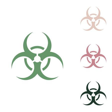 Danger chemicals sign. Russian green icon with small jungle green, puce and desert sand ones on white background.