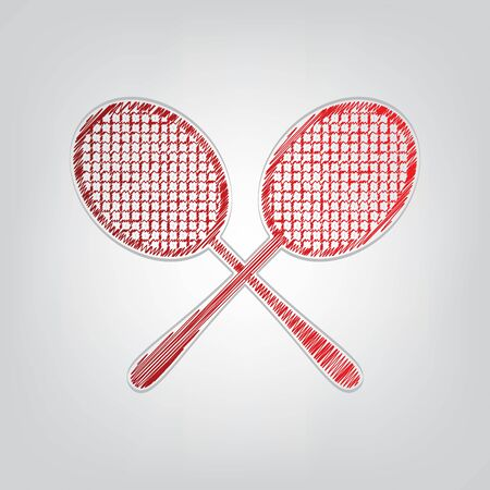 Two tennis racket sign. Red gradient scribble Icon with artistic contour gray String on light gray Background.