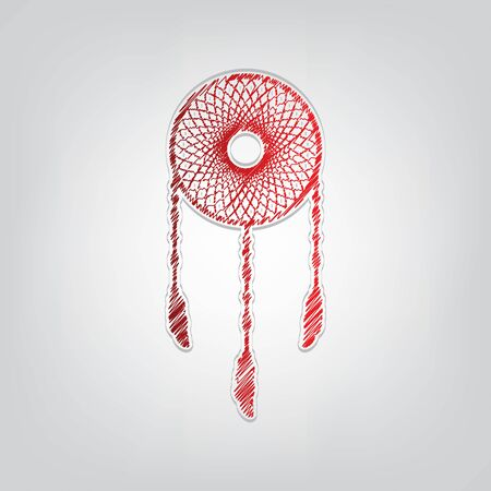 Dream catcher sign. Red gradient scribble Icon with artistic contour gray String on light gray Background. Illustration