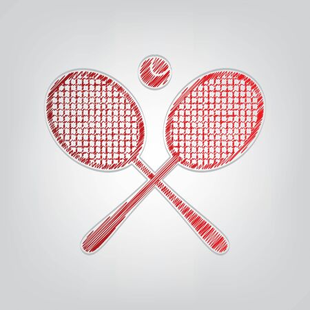 Two tennis racket with ball sign. Red gradient scribble Icon with artistic contour gray String on light gray Background.