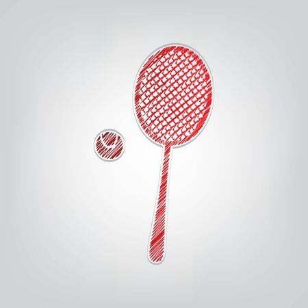 Tennis racquet with ball sign. Red gradient scribble Icon with artistic contour gray String on light gray Background.