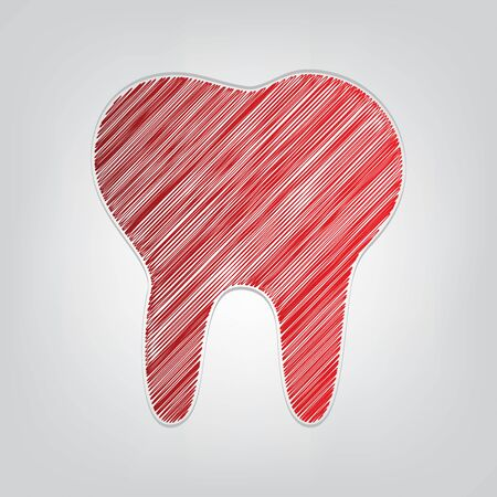 Tooth sign illustration. Red gradient scribble Icon with artistic contour gray String on light gray Background.