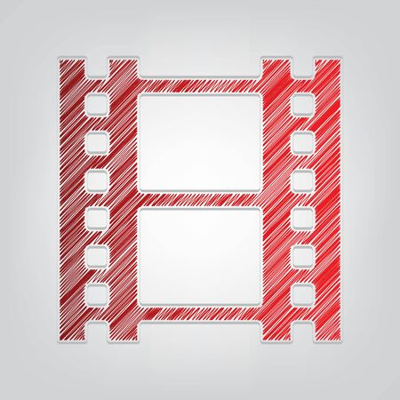 Reel of film sign. Red gradient scribble Icon with artistic contour gray String on light gray Background.